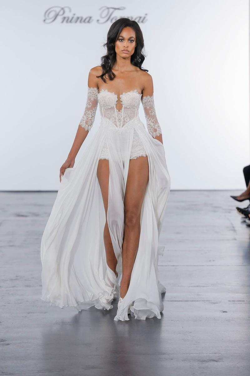 Pnina Tornai for Kleinfeld 2018 wedding dress chantilly lace romper with skirt arm lace sleeves