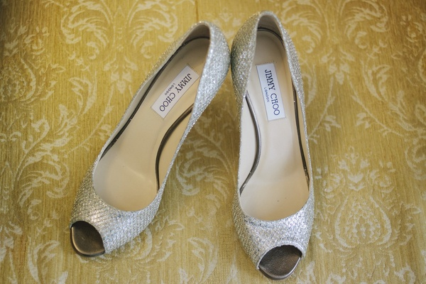 Jimmy Choo metallic silver peeptoe wedding heels