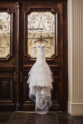 custom Michael Faircloth wedding gown, ruffled wedding gown, lace and tulle wedding gown