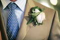 Groom in khaki suit and blue fish tie with light pink rose boutonniere