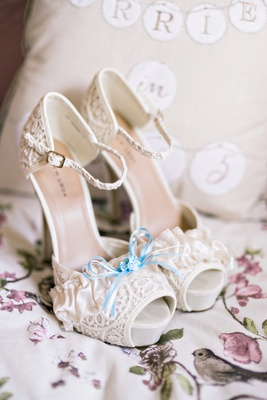 platform heels lace blue ribbon detailing buckle strap ivory white