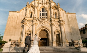 Bride in a fit-and-flare Sottero and Midgley dress, her father at St. Joseph Catholic Church, Gretla
