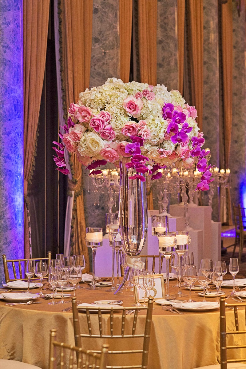 Reception décor photos tall hydrangea rose and orchid