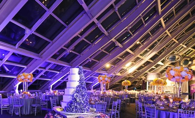 City Wedding at Chicago Planetarium with Purple + Yellow Palette