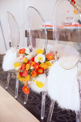 Bridal shower with ghost chairs faux fur on chair bride chair decorated with poppy flowers
