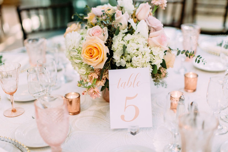 wedding reception table number on acrylic lucite stand rose gold pink rose white hydrangea flowers