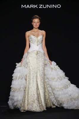 Mark Zunino for Kleinfeld 2016 strapless gold wedding dress with ruffle over skirt
