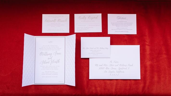 white and gray invitations, minimalist invitations, simple invitations