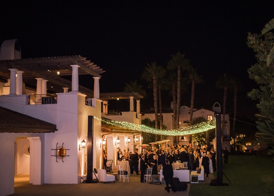 bacara resort santa barbara wedding, cocktail hour with twinkle lights