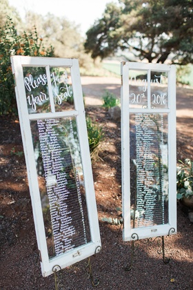 framed windows seating charts custom rustic northern california winery wedding reception names