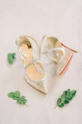 christian louboutin red bottom heels criss cross straps mesh rhinestones crystals pumps