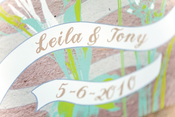 Banner style text on natural stationery