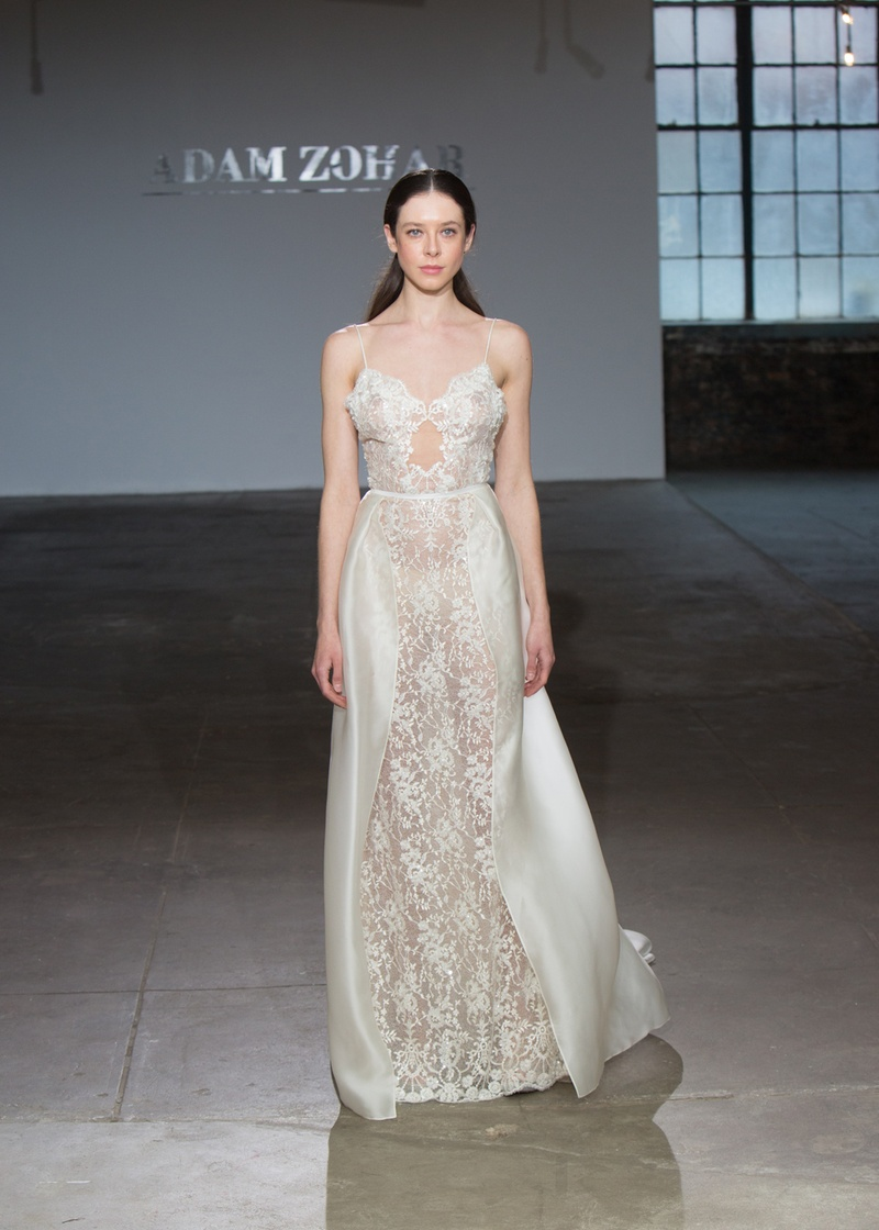 Jane by Adam Zohar Spring 2019, spaghetti strap gown with sheer lace bodice and partial overskirt.