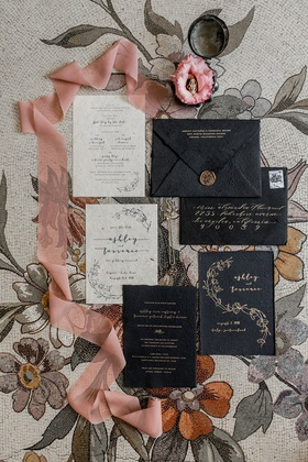 wedding invitation suite daughters of simone co owner ashley black and gold wax seal invitations