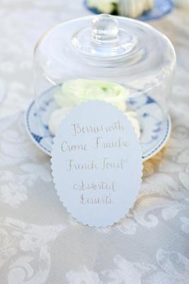 Brunch menu for guests
