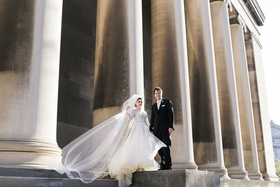 bride groom standing church steps catholic roman chapel veil pillars pittsburgh