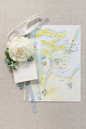 illustrated map of wedding weekend and activities