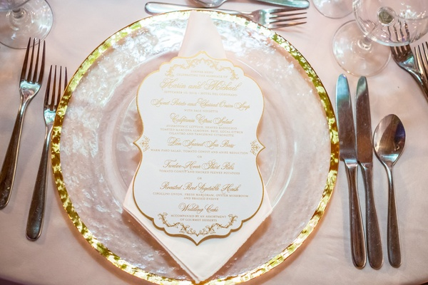 class charger gilt rim gold white menu calligraphy sophisticated setting culinary choices wedding