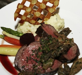 Wedding catering menu with steak and mashed potatoes