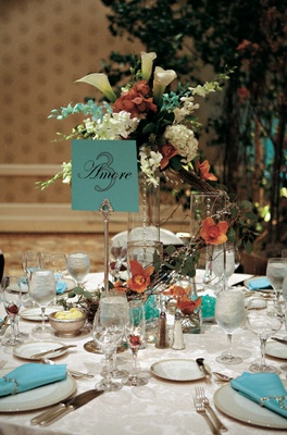 Complementary color wedding reception table