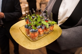 wedding cocktail hour, strawberries, blueberries, mint leaves
