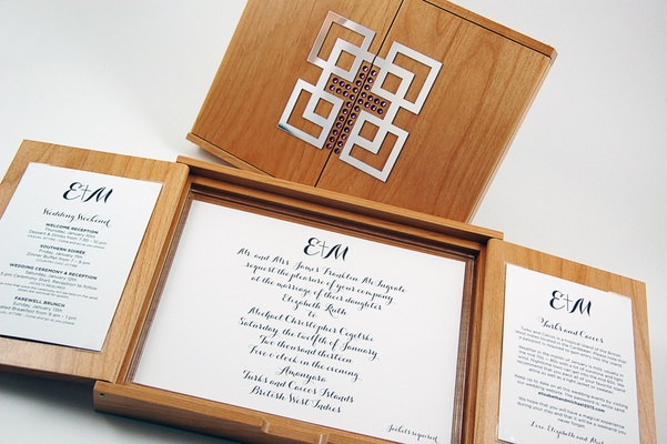 Wood box invitation with cross in front