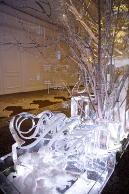 Lucite escort cards on winter tree branches coming out of monogram ice sculpture at winter wedding