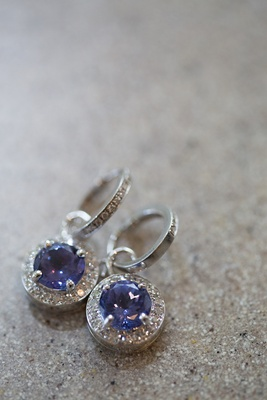 Bride's sapphire and diamond dangle earrings