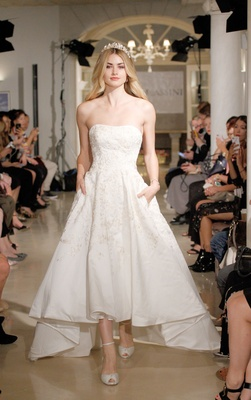 Oleg Cassini Spring Summer 2018 Wedding Dress High Low Gown Pockets Satin Embroidery Flower Lace