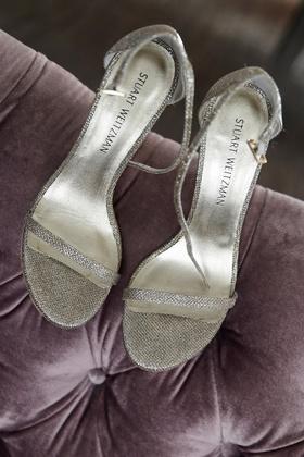 Stuart Weitzman silver metallic wedding shoes toe and ankle straps