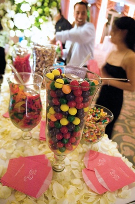 Wedding favor candy station at reception