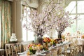 cherry blossom centerpieces, rustic wedding gay wedding seasonal arrangemnets