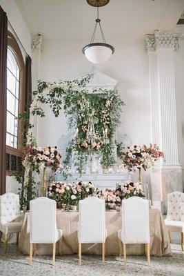 Garden inspired indoor tablescape with modern elements amp florals modern indoor garden tablescape tufted chairs flower chandelier pink centerpiece workwithnaturefo