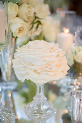 small glamelia in vase as part of wedding centerpiece