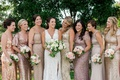 Angela Akins Sergio Garcia wedding bridesmaids in mismatch dresses rose gold gold sequin metallic
