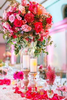 Texture table linen, flower petals, candles, bud vases, tall centerpiece pink rose, pink dahlia