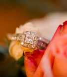 square engagement ring halo pave band solitaire diamonds milgrain classic vintage wedding band