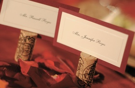 White place cards with red border
