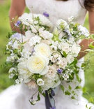 wedding bouquet ideas white rose peony campanula flower with purple sweet pea flowers greens ribbon