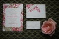 Wedding invite with pink flowers and champagne leaves