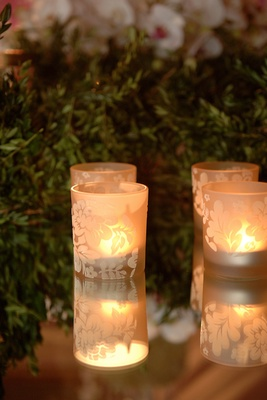 Candle votive with etched glass in flower design