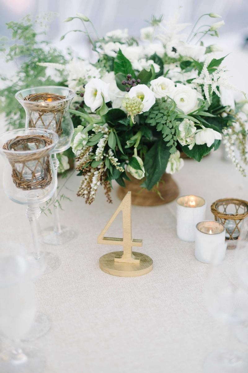 table number foliage gold details votives baskets white beach wedding oceanside california reception