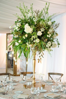 DeMarco Murray wedding gold riser, green centerpiece with tulip, hydrangea, lace linens