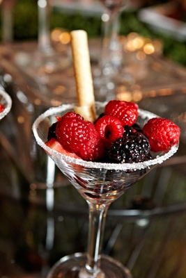 Martini glass with sugar rim and fresh fruit