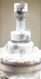 Unique wedding cake with snowflakes and crystals