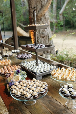 Melissa Claire Egan rustic wedding mini cupcake station