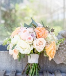 wedding bouquet for rustic chic wedding white pink purple orange peach rose varieties greenery