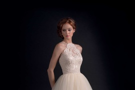 Lace halter top with tulle skirt by Modern Trousseau Fall 2016
