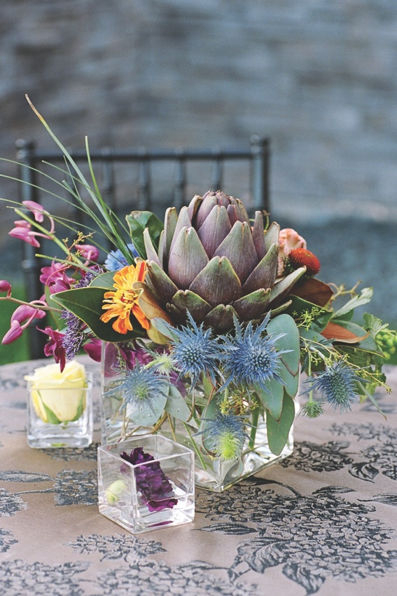 Colorful Flowers And Thistles In Glass Vase Photographed By Perspective Studio Photography