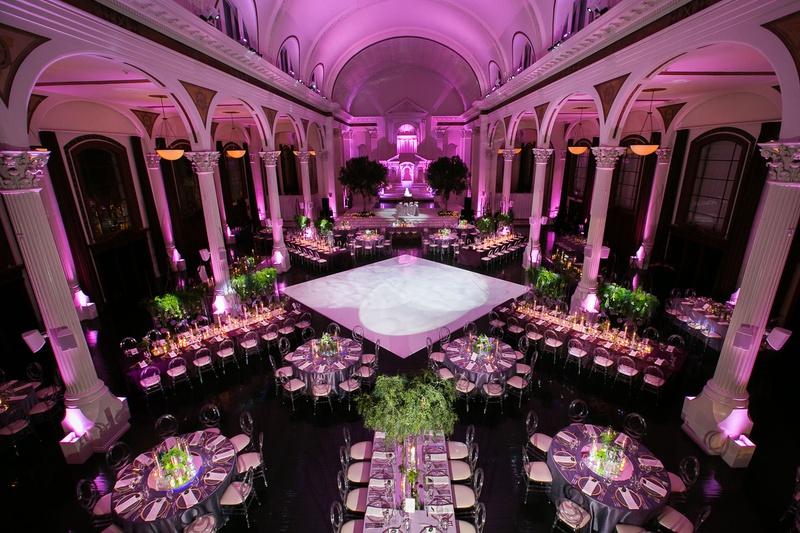 Wedding reception vibiana pink lighting violet greenery round rectangular tables dance floor columns
